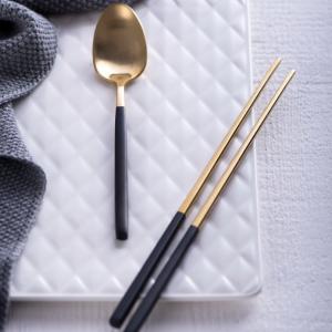 Bộ 4 sp dao nĩa inox vàng cán đen