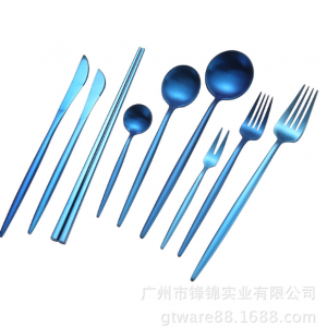 Bộ 9 sp dao nĩa inox xanh dương cao cấp